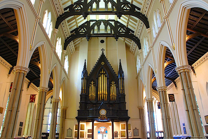 One section of the pipe organ at St James Cathedral.