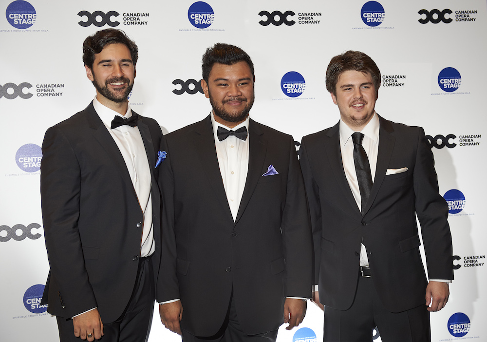 (l-r) Ensemble Studio Competition Second Prize Winner baritone Dimitri Katotakis, Ensemble Studio Competition First Prize and Audience Choice Award winner tenor Charles Sy and Ensemble Studio Competition Third Prize Winner tenor Aaron Sheppard, 2014. Photo: Michael Cooper