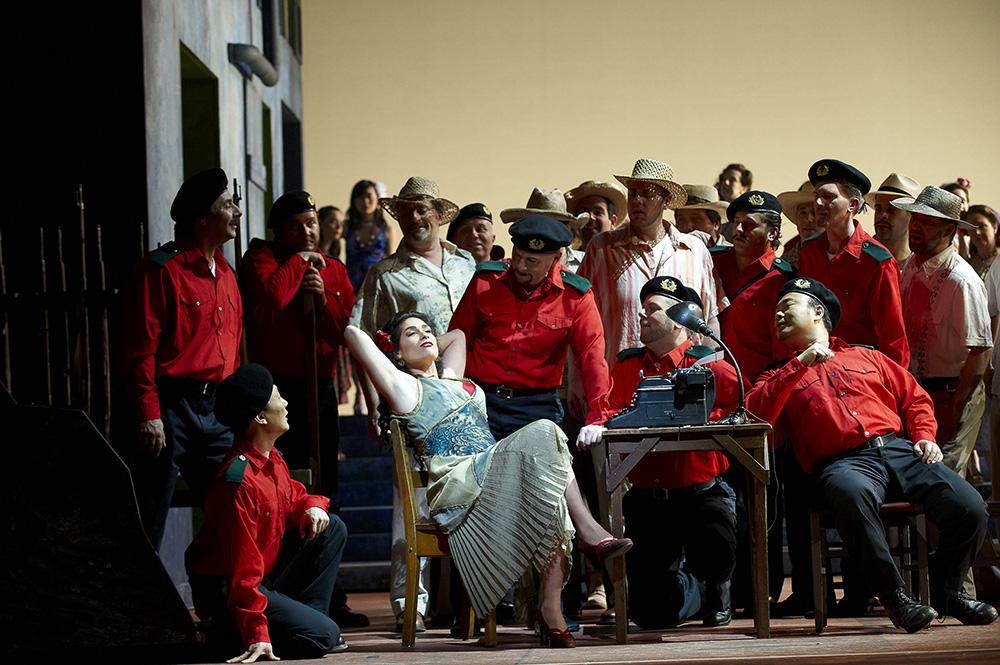 (centre) Rinat Shaham as Carmen. Photo from Carmen (Canadian Opera Company, 2010) by Michael Cooper