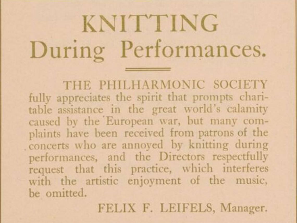 Notice published on Feb. 11, 1915 Philharmonic Society concert program
