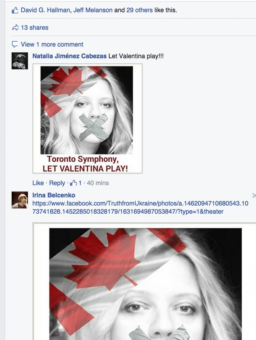 Toronto Symphony Orchestra Facebook page screen capture: April 6, 2:45 p.m.