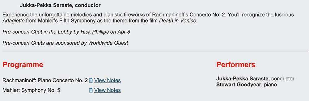 Toronto Symphony Orchestra event page, April 6, 2:00 p.m.