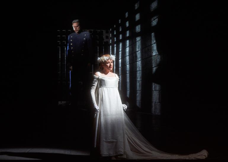 John Relyea as Duke Bluebeard and Ekaterina Gubanova as Judith in the Canadian Opera Company production of Bluebeard's Castle, 2015. Photo: Michael Cooper