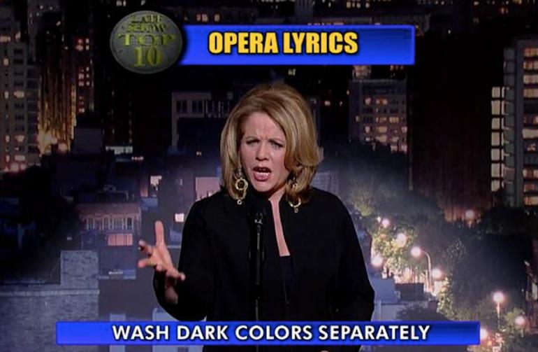 Renée Fleming singing for Letterman's Top 10