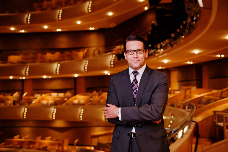 COC general director Alexander Neef in the R. Fraser Elliott Hall at Toronto's Four Seasons Centre for the Performing Arts (Photo: Bo Huang)