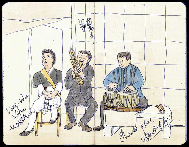 Members of the Silk Road Ensemble, Illustration by Cindy Woods - Art Institute of Chicago