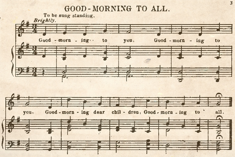 "Excerpt of ""Good Morning to All"" a song written in the late 1800s published in a collection of songs titled ""Harvest Hymns"" (1924)."