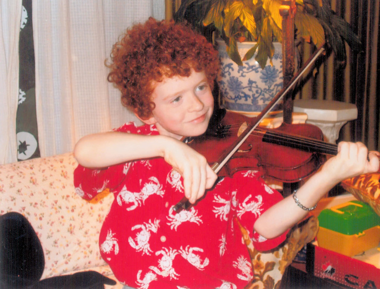 Fraser Alexander - son of violinist Ivan Alexander. Born deaf, Fraser received cochlear implants just before age 3, thanks to SickKids. He is now a happy 10 year-old who plays violin, piano.