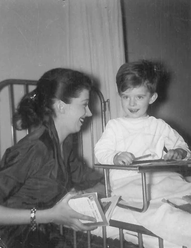 Kent Teeple with mother, Shirley Teeple. Photo taken at SickKids Hospital circa 1955/56.