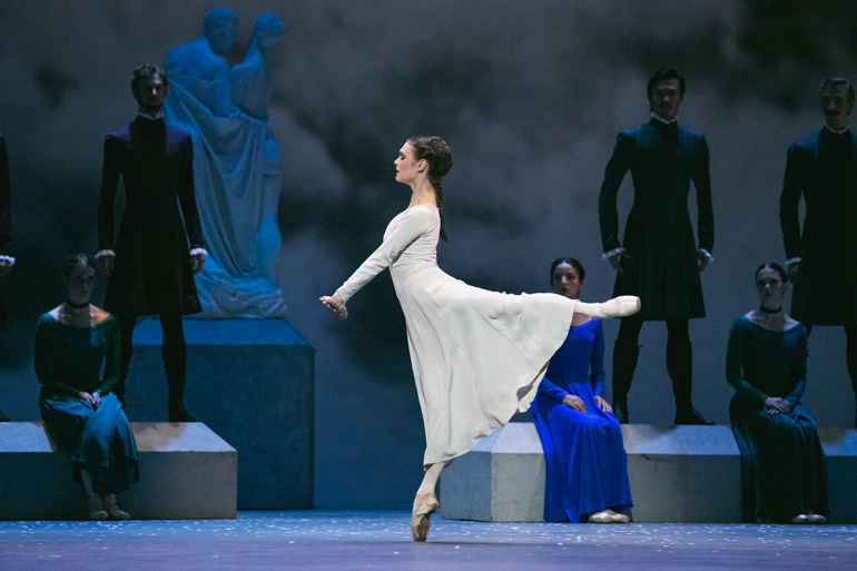 Jurgita Dronina with Artists of the Ballet in The Winter's Tale. Photo by Karolina Kuras (courtesy of The National Ballet of Canada)