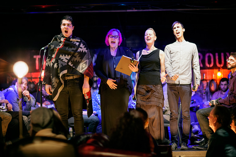 Jeremy Dutcher, Christine Duncan, Carla Huhtanen and Gabriel Dharmoo. Electric Messiah (Photo: Claire Harvie)