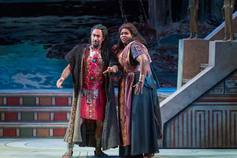 Marco Nistico as Amonasro and Michelle Johnson as Aida (Photo: Rod Millington)