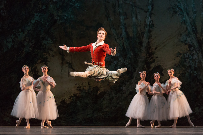 Harrison James with Artists of the Ballet in La Sylphide. Photo by Aleksandar Antonijevic, courtesy of The National Ballet of Canada.