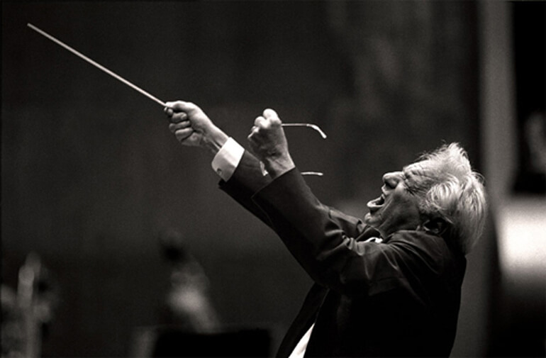 Bernstein conducting the Chicago Symphony Orchestra in the Shostakovich No. 7, June 24, 1988. (Photo: Steve J. Sherman)