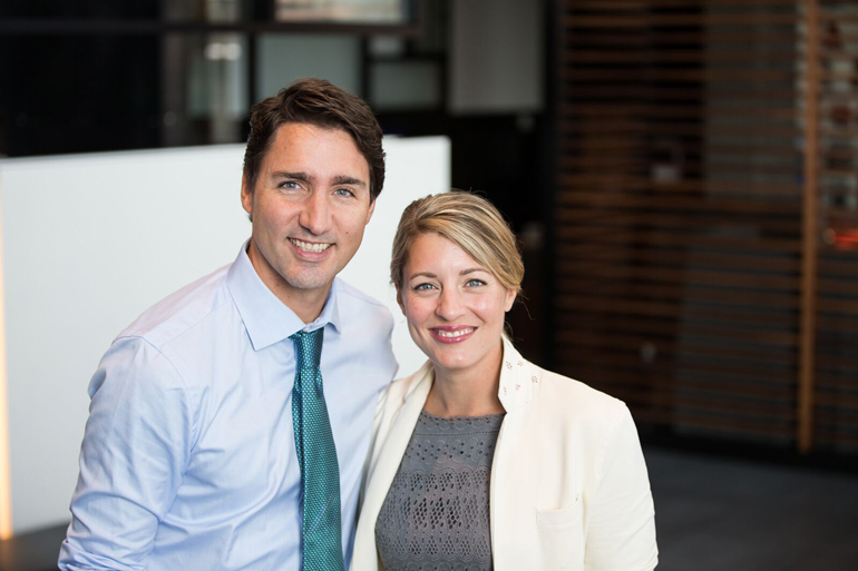Canada's Federal Minister for Heritage Melanie Joly and Justin Trudeau, PM