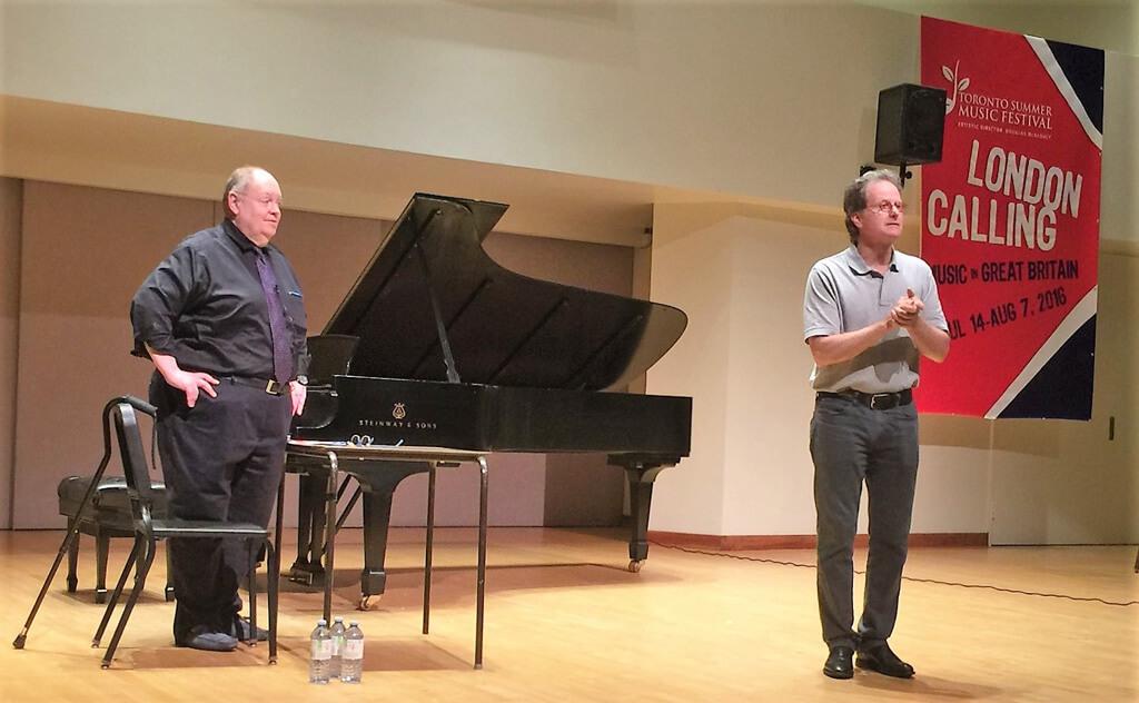Craig Rutenberg (left) and Douglas McNabney (right) at the openingmasterclass for the Toronto Summer Music Festival at Walter Hall. (Photo: Joseph So)