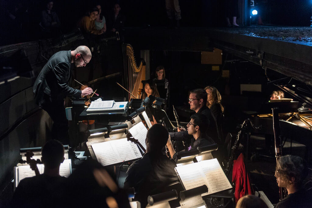 Christopher Mokrzewski in the orchestra pit (Photo: Don Lee, courtesy Banff Centre for Arts and Creativity)