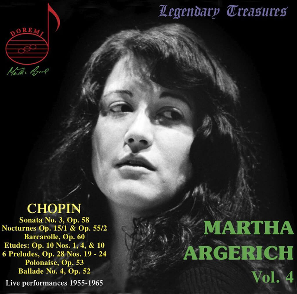 Martha Argerich. Volume 4. Chopin: Piano Sonata No. 3, Nocturnes, Etudes, Préludes and Ballades, recorded live at the 1965 International Chopin Competition in Warsaw. DOREMI DHR-8036. Total Time: 80:09.