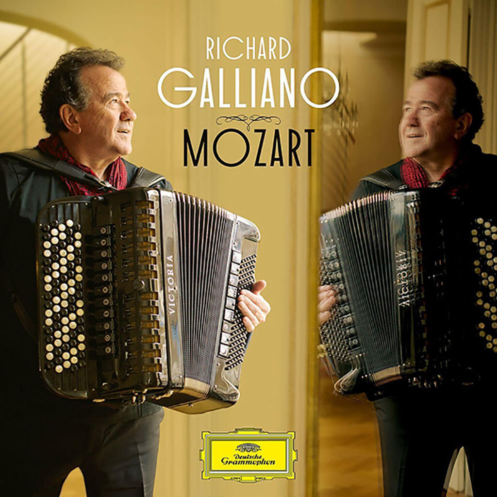 Mozart. Richard Galliano, accordion. Arrangements for accordion and orchestra of Mozart's Eine Kleine Nachtmusik, Clarinet Concerto and other works. Deutsche Grammophon 481 2662. Total Time: 58:55.
