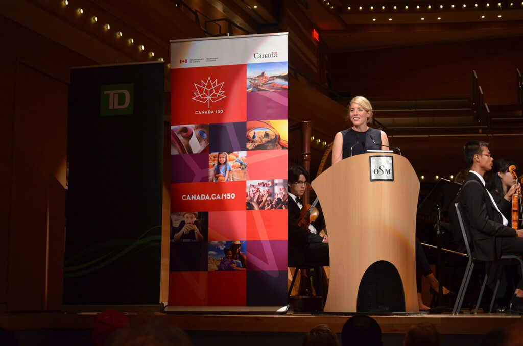 The Honourable Mélanie Joly, Minister of Canadian Heritage announces funding for NYO Canada during concert at Maison Symphonique. (Photo: NYO Canada)