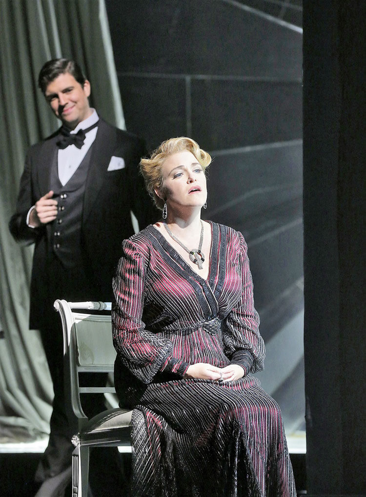 Santa Fe Opera: Zach Borichevsky (tenor) and Erin Wall (soprano) in Samuel Barber's Vanessa. (Photo: Ken Howard)