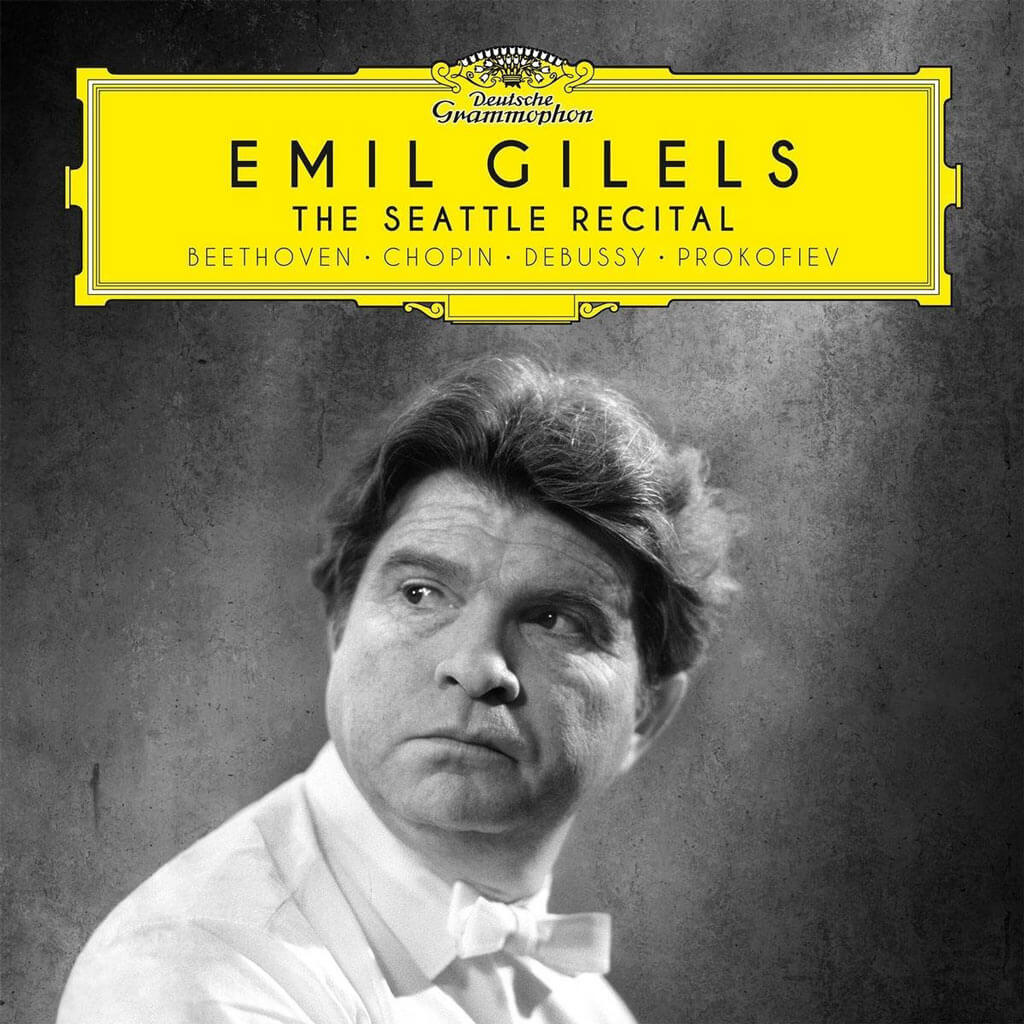 """Emil Gilels: the Seattle Recital. Beethoven: Piano Sonata Op. 53 """"Waldstein"""". Prokofiev: Piano Sonata No. 3 Op. 28. Prokofiev: Visions fugitives Op. 22 (excerpts) Debussy: Images I. Ravel: Alborada del gracioso. Recorded live in the Seattle Opera House, December 6, 1964. DG 479 6288. Total Time: 74:47."""