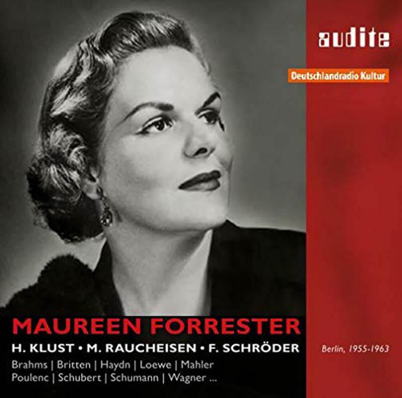 PORTRAIT OF MAUREEN FORRESTER. MAHLER: Rückert Lieder. WAGNER: Wesendonck Lieder. BRAHMS: Eight Gypsy Songs. BRITTEN: A Charm of Lullabies. BARBER: Mélodies Passagères. POULENC: La Fraîcheur et le Feu. Le Travail du Peintre. Also songs by Schubert, Schumann Haydn and C.P.E Bach. Maureen Forrester, alto. Hertha Klust, Michael Raucheisen and Felix Schröder, piano. Recorded 1955-1963 by RIAS, Berlin. Audite 21.437 (3-cd set). Total Time: 190:04.