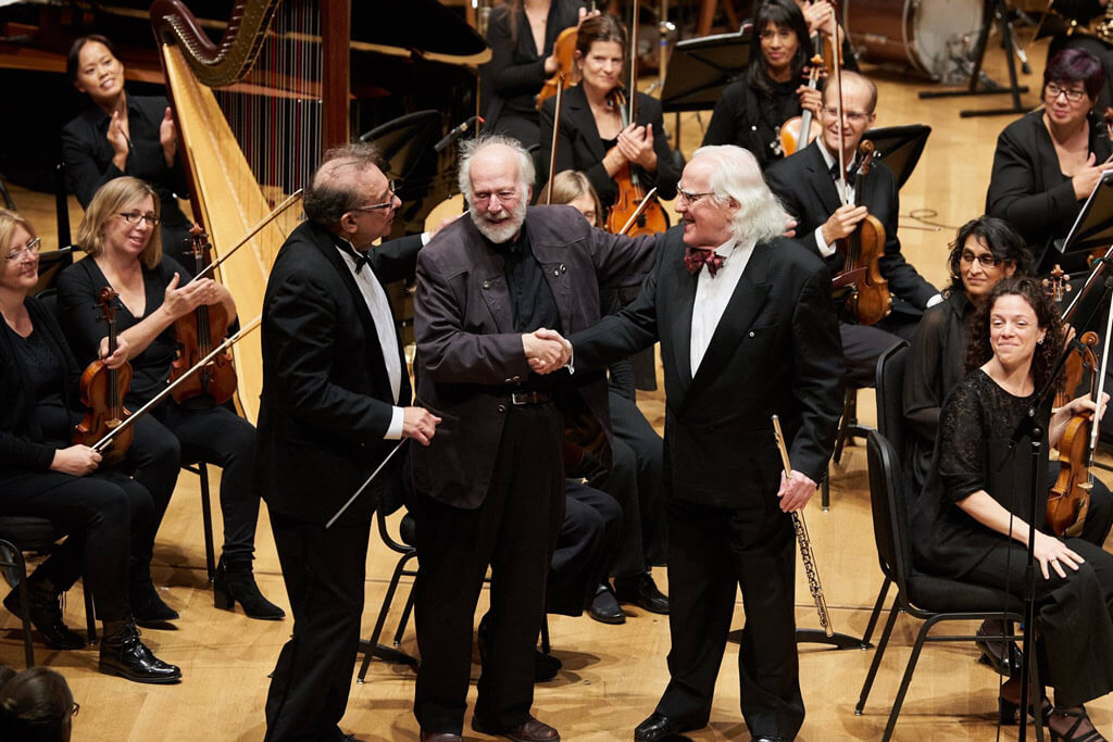 Alex Pauk with R. Murray Schafer and Robert Aitken. (Photo: Malcolm Cook)