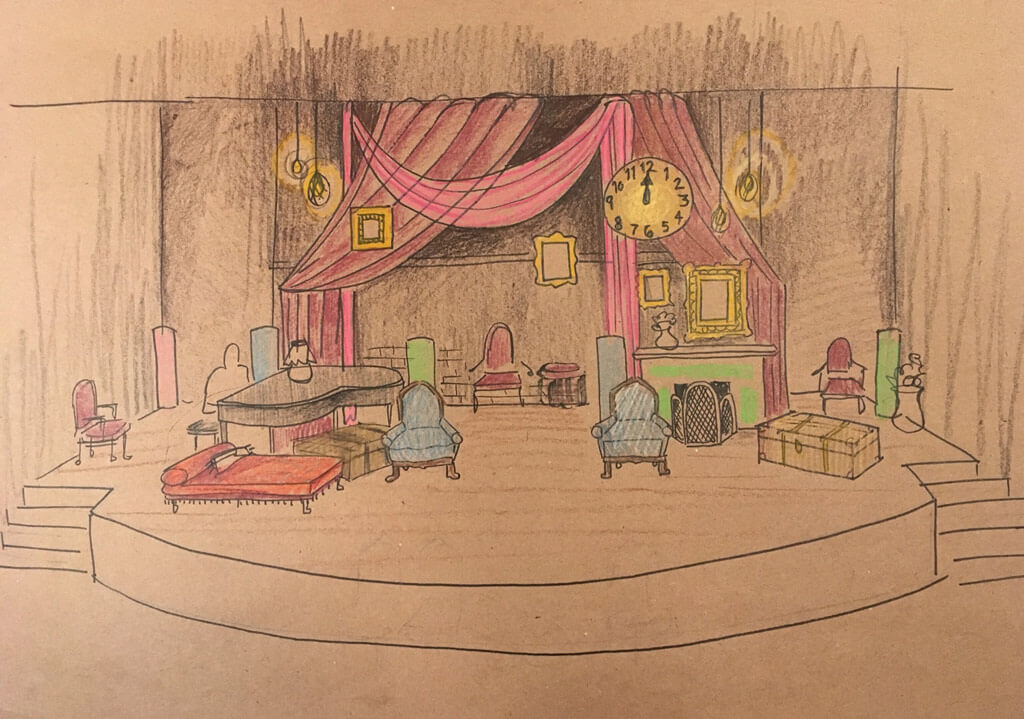 Sketch of the stage from the Glenn Gould School's vocal program production of Pauline Viardot's Cendrillon.
