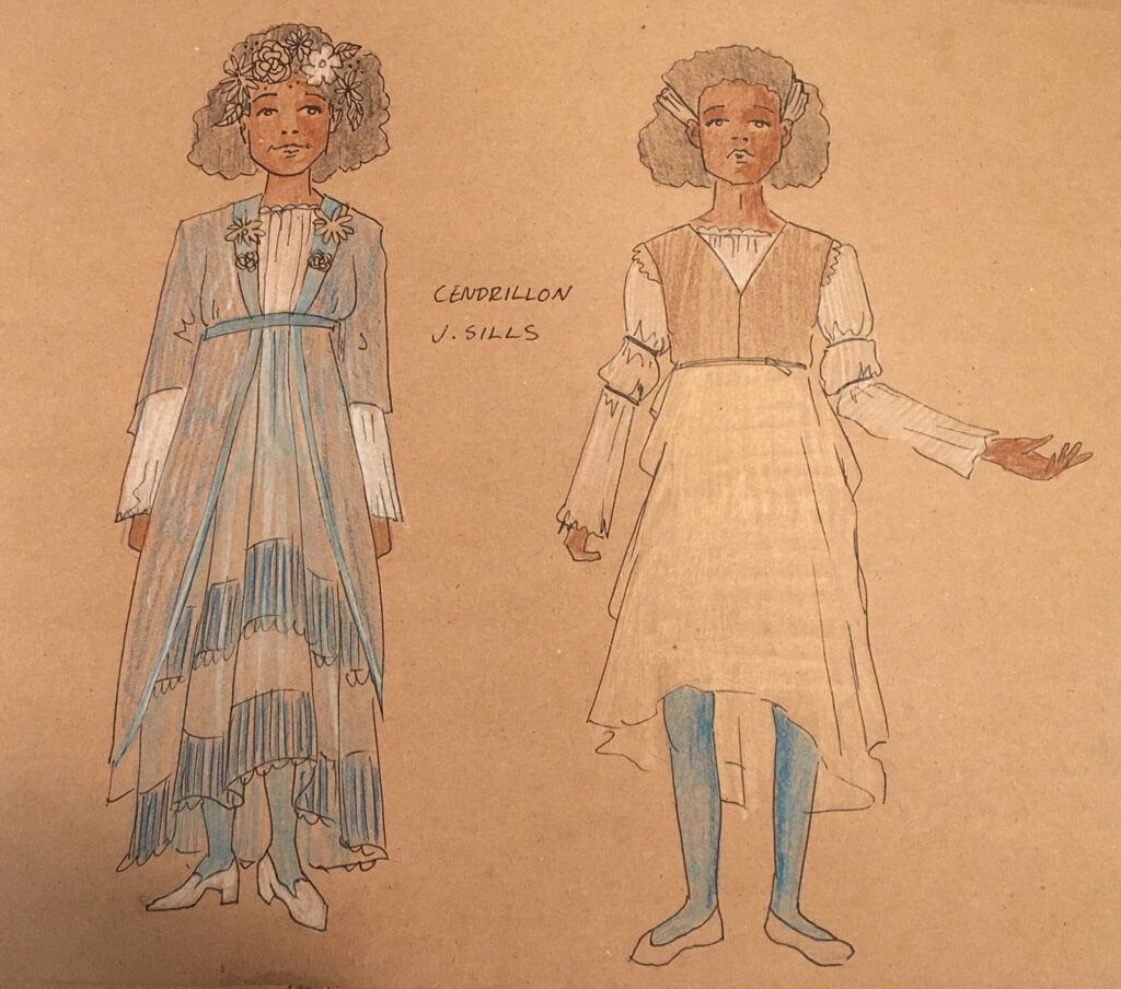 Sketch of costumes from the Glenn Gould School's vocal program production of Pauline Viardot's Cendrillon.
