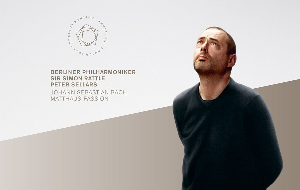BACH: St. Matthew Passion. Mark Padmore (Evangelist). Christian Gerhaher (Jesus). Camilla Tilling (soprano). Magdalena Kožená (contralto). Topi Lehtipuu (tenor). Thomas Quasthoff (bass). Rundfunkchor Berlin/Simon Halsey. Berlin Philharmonic/Sir Simon Rattle. Staging by Peter Sellars. Complete performance recorded live in April, 2010, and a bonus video with Peter Sellars in conversation with Simon Halsey. BPHR Blu-ray 140021.