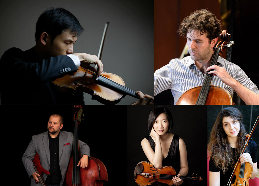 2017 COC Orchestra Academy members: Madlen Breckbill, cellist James Churchill and bassist Jesse Dietschi, UofT violinist Heng-Han Hou and Schulich violinist Jung Tsai.