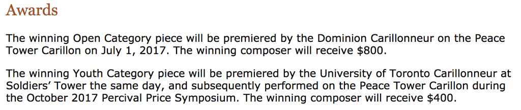 Screen capture of Carillon Composition Competition rules, Jan 12, 2017.