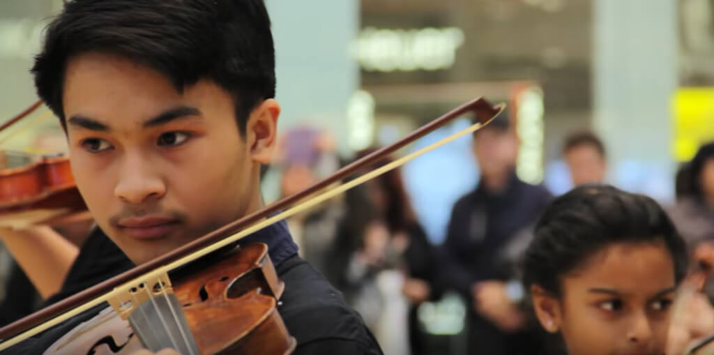 Surprise musical performance by The Hammer Band Students at Yorkdale Shopping Centre (Photo: YouTube)
