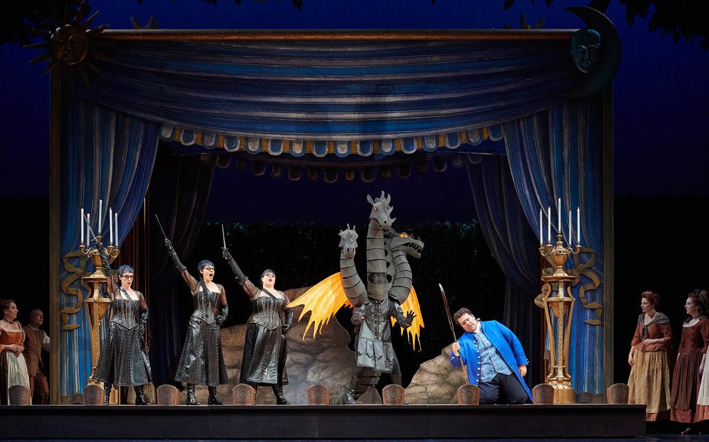 (l-r) Lauren Segal as the Third Lady, Emily D'Angelo as the Second Lady, Aviva Fortunata as the First Lady and Andrew Haji as Tamino in the Canadian Opera Company's production of The Magic Flute, 2017, (Photo Michael Cooper)