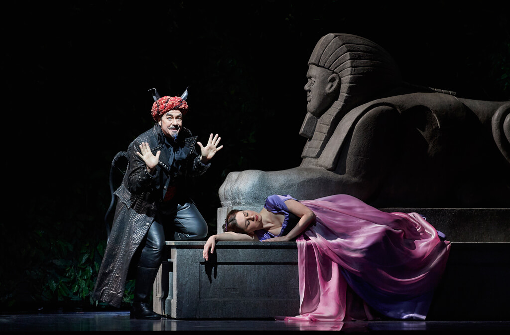 Michael Colvin as Monostatos and Elena Tsallagova as Pamina in the Canadian Opera Company's production of The Magic Flute, 2017. (Photo: Michael Cooper)