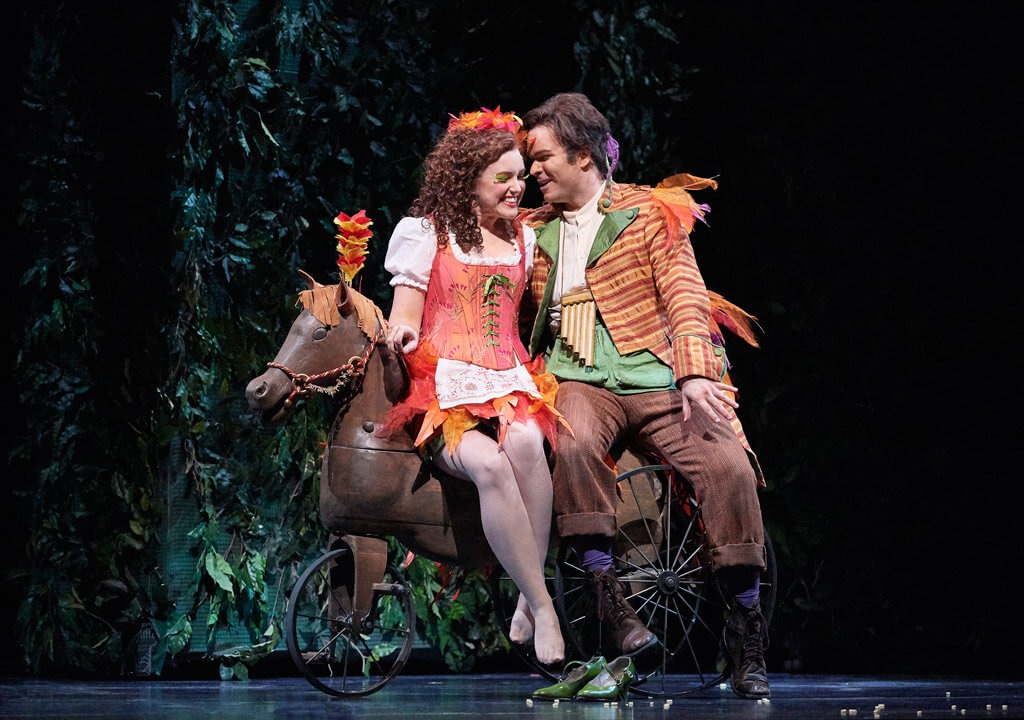 The Magic Flute, Joshua Hopkins (Papageno) and Jacqueline Woodley (Papagena), COC. (Photo: Michael Cooper)