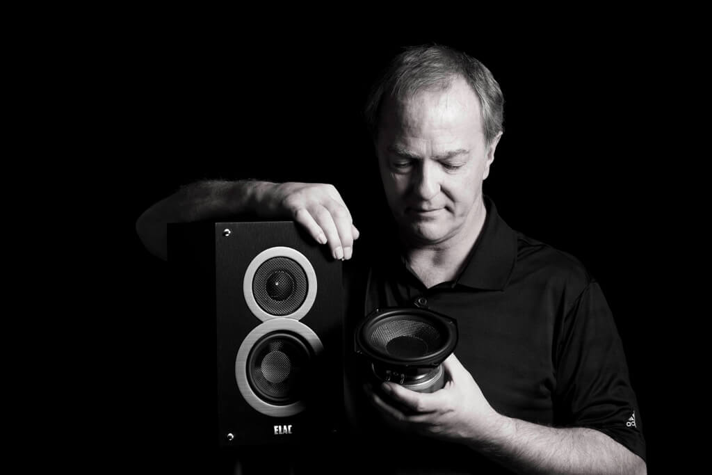 ​​Elac's Andrew Jones and his Debut loudspeaker.