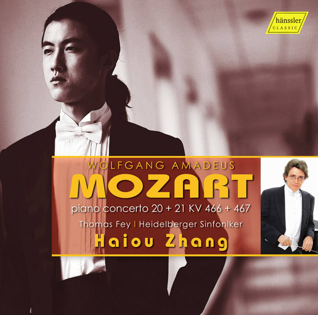 Mozart: Piano Concertos Nos 20 & 21. Pianist Haiou Zhang with the Heidelberg Sinfoniker conducted by Thomas Frey.  Haenssler Classics. Total time: 53 minutes