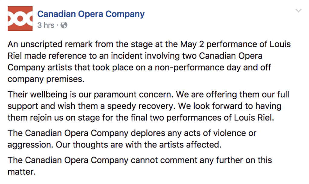 Canadian Opera Company public statement issued on on Facebook, May 3, 11 a.m.