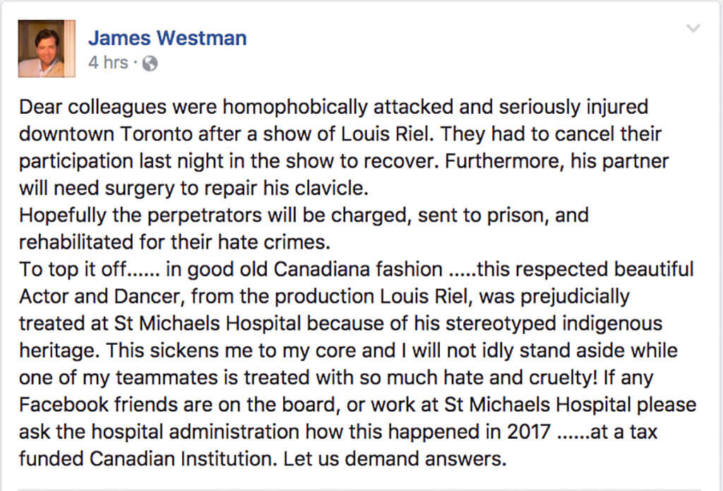 Baritone James Westman, public statement issued on on Facebook, May 3, 10 a.m.
