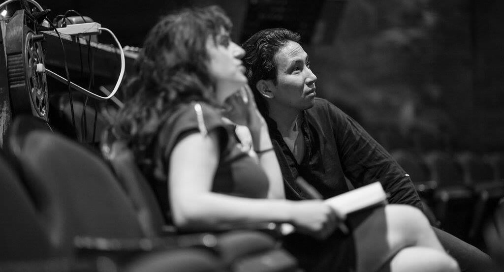 Librettist Anna Chatterton and Director Michael Mori on the set of Tapestry Opera's Rocking Horse Winner. (Photo: Dahlia Katz)