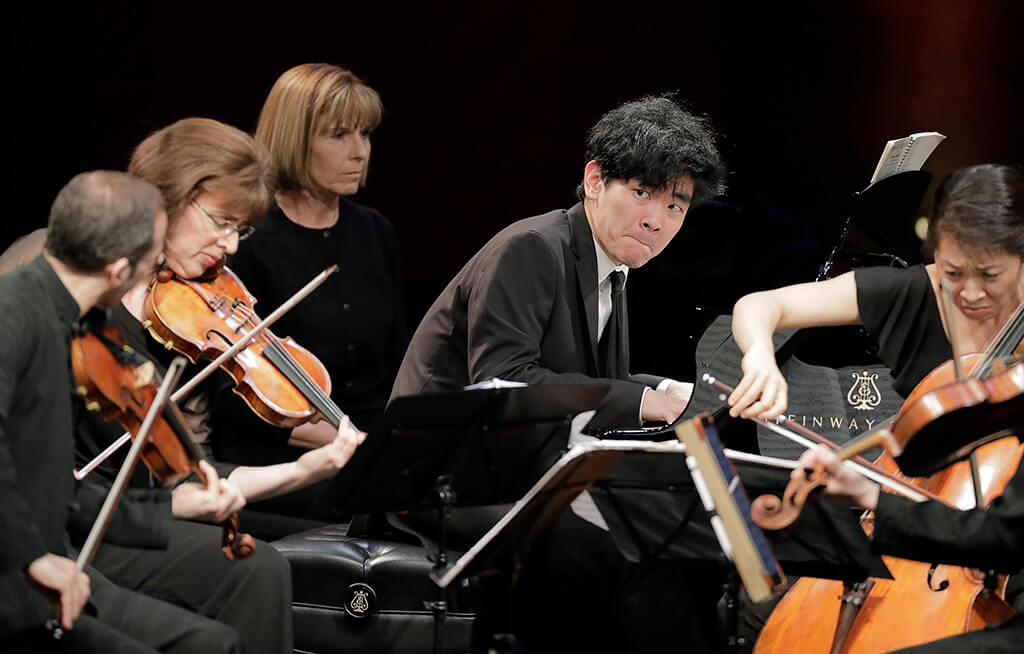 June 8, 2017. Daniel Hsu of the United States performs with the Brentano String Quartet on Thursday in the Final Round of the Fifteenth Van Cliburn International Piano Competition held at Bass Performance Hall in Fort Worth, Texas. (Photo Ralph Lauer)
