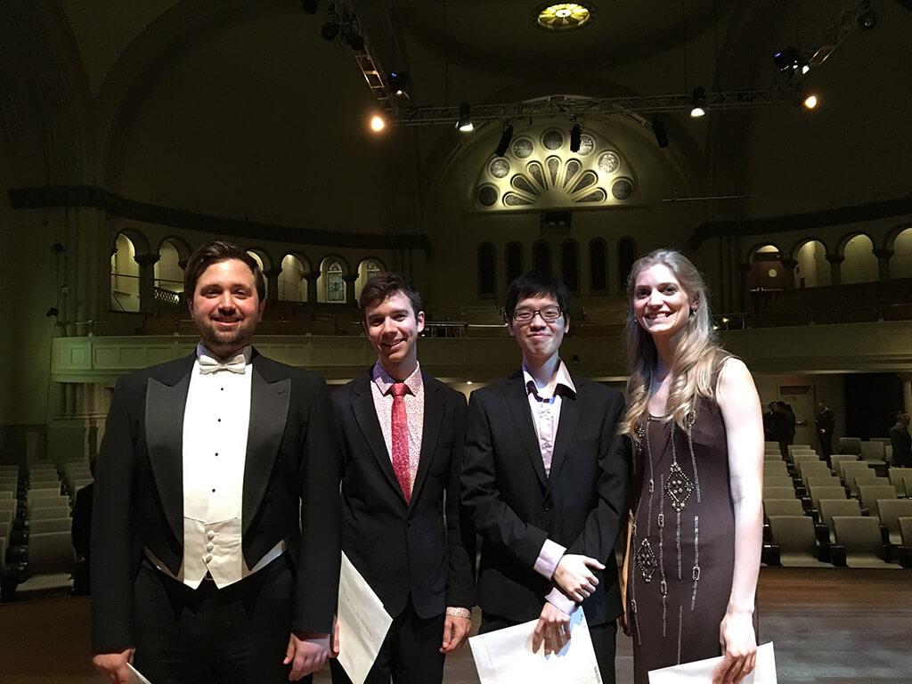 Winners of the four categories at the Prix d'Europe: Hugo Laporte (voice), Antoine Malette-Chénier (strings), Felix Hong (keyboards), Stephanie Morin (winds/percussion) (Photo: Jennifer Liu)