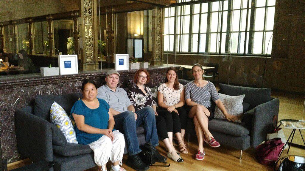 Ludwig van Montréal editorial team: L-R: Julie Vovan, Réjean Beaucage, Rebecca Anne Clark, Jeanne Hourez, Béatrice Cadrin.