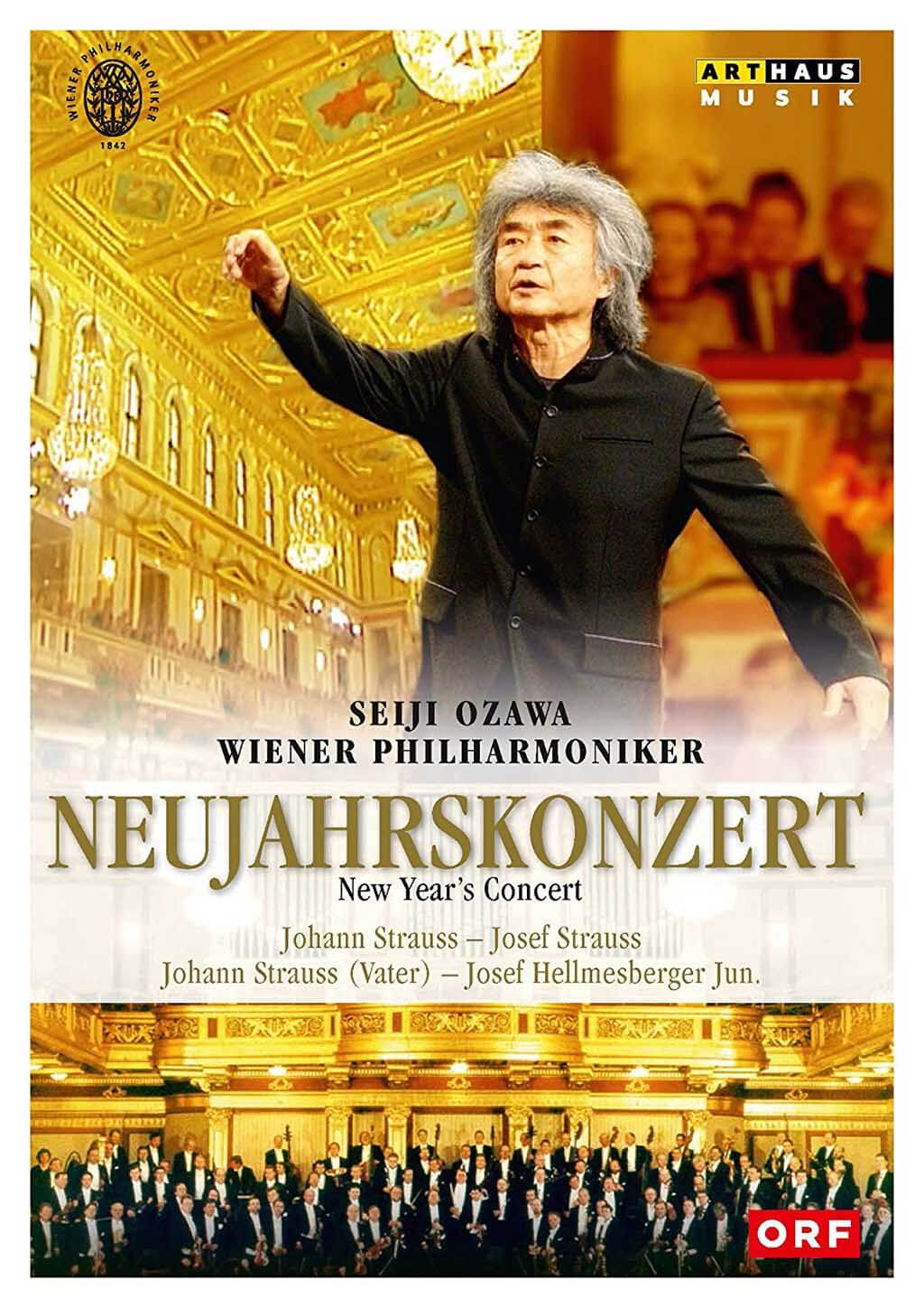 New Year's Concert 2002. Music by Johann Strauss, Josef Strauss and Josef Hellmesberger. Vienna Philharmonic Orchestra/Seiji Ozawa. Arthaus Musik DVD 109315. Total Time: 109:00 + 32:00 (special features).