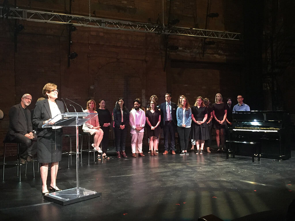 Eleanor McMahon, Minister of Tourism, Culture and Sport, announced the funding at Berkeley Street Theatre on August 29, 2017. (Photo courtesy Ontario Arts Council)
