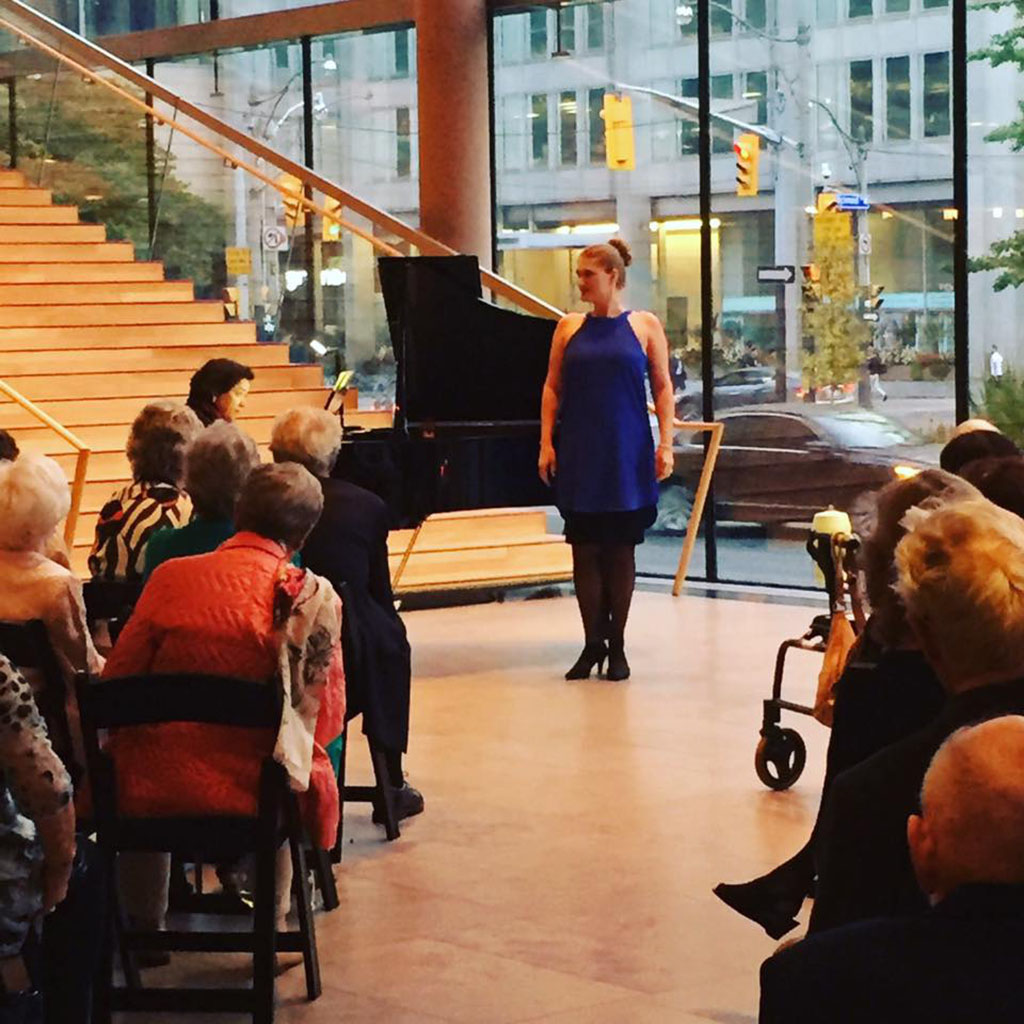 Soprano Jane Archibald makes a surprise appearance at the COC President's Council Season Opening Event (Photo courtesy of the COC/Facebook)