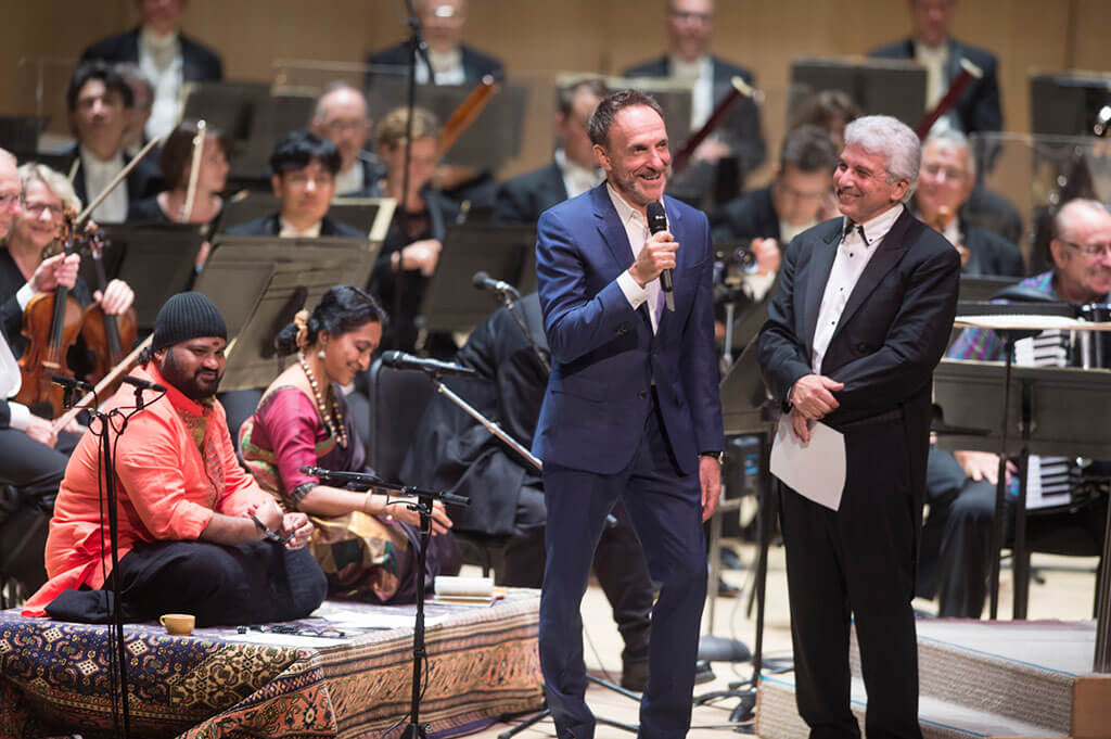 Composer Mychael Danna and TSO Music Director Peter Oundjian introduce the world premiere of an orchestral suite based on the soundtrack of the movie The Life of Pi (Photo: Jag Gundu)
