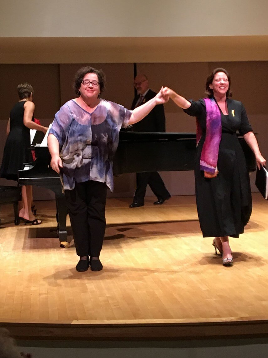 Liz Upchurch and Nathalie Paulin perform at the Mysterious Barricades Concert at Walter Hall. (Photo Robin Roger)